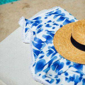 Indigo Round Turkish Beach Towel